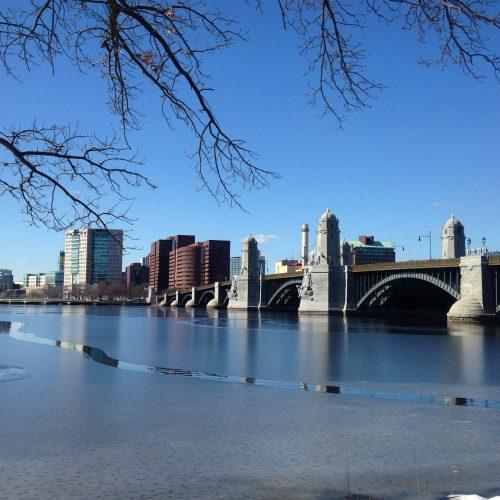 Charles river ribbon light Boston blue sky
